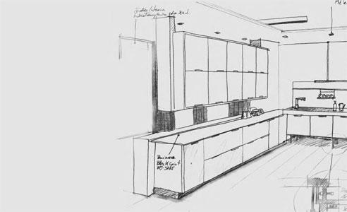 imagen decorativa de un plano de cocina a mano alzada